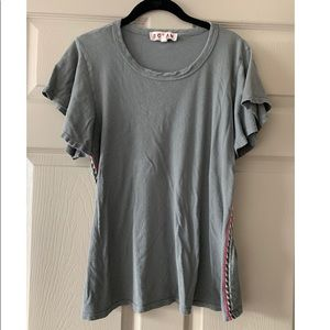 Tee with Embroidered Sides